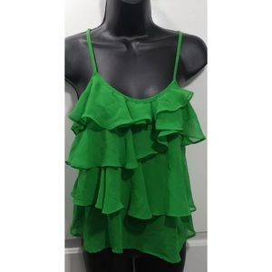 Green ruffled Love Culture spaghetti strap top Med